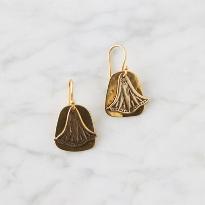 Fan Overlay Brass Earrings