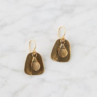Hammered Brass Drop Earrings