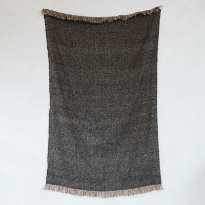 Marled Black and Copper Fringed Throw
