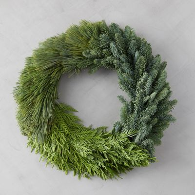 Fresh Colorblocked Greens Wreath