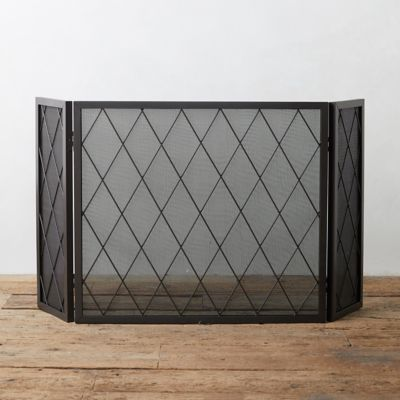Iron Lattice Fireplace Screen