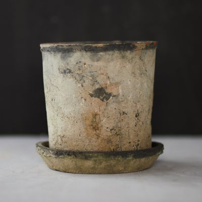 Earth Fired Clay Tall Sill Pot + Saucer