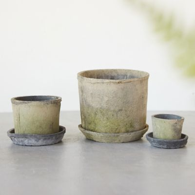 Earth Fired Clay Low Sill Pot + Saucer Set