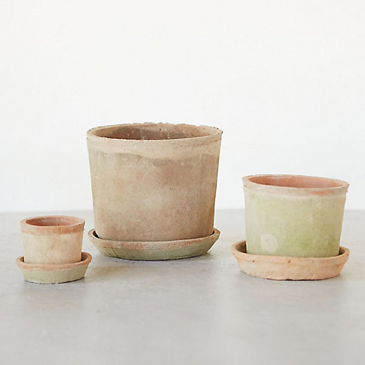 View larger image of Earth Fired Clay Low Sill Pot + Saucer
