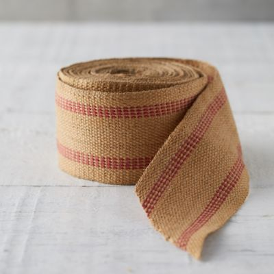 Red Striped Jute Ribbon
