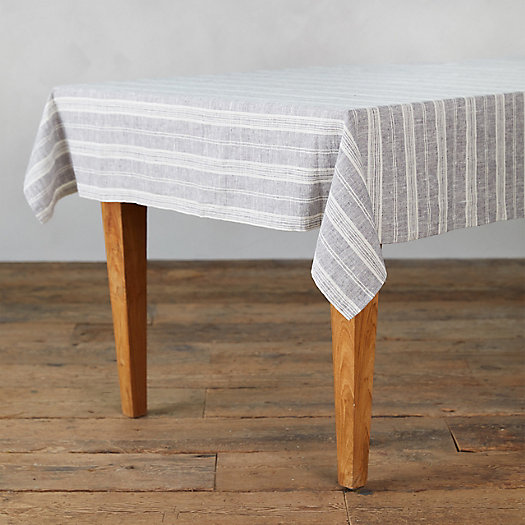 View larger image of Lithuanian Linen Tablecloth, Graphite Multi Stripe