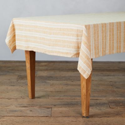 Lithuanian Linen Tablecloth, Gold Multi Stripe