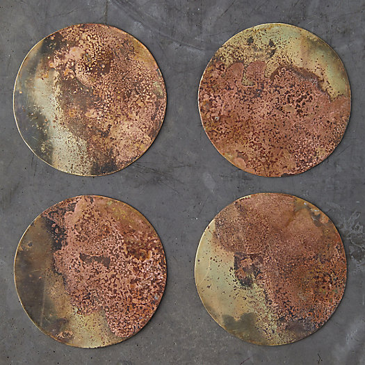 View larger image of Oxidized Brass Coaster Set