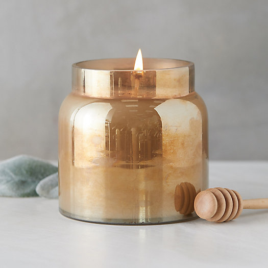 View larger image of Colored Glass Candle, Honey Tobacco