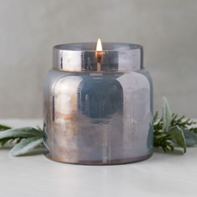 Colored Glass Candle, Sage + Cedar