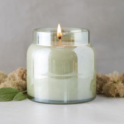 Colored Glass Candle, Moss + Mint