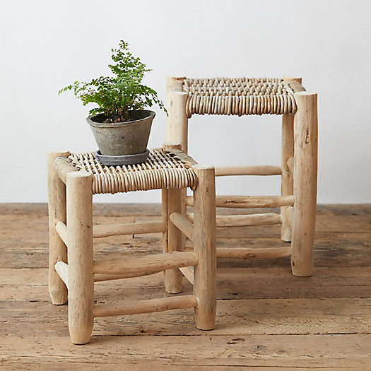 View larger image of Teak + Rattan Stool