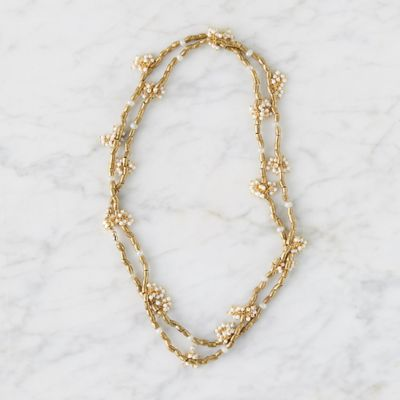 White Coral + Brass Wrap Necklace