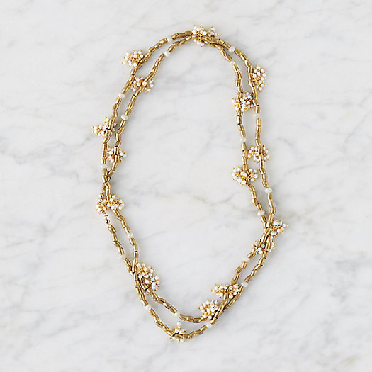 View larger image of White Coral + Brass Wrap Necklace