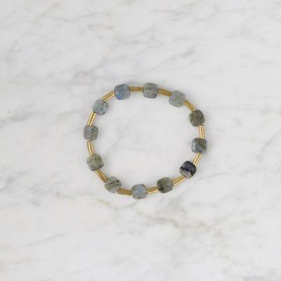 Cushion Labradorite + Brass Bracelet