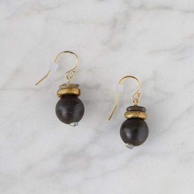 Wood + Abalone Drop Earring