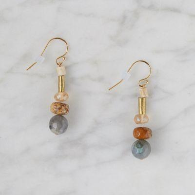 Faceted Labradorite + Jasper Drop Earrings