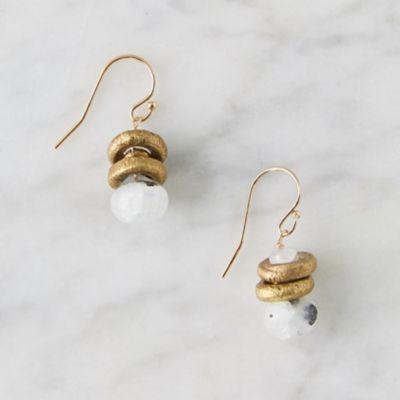 Moonstone + Brass Drop Earrings