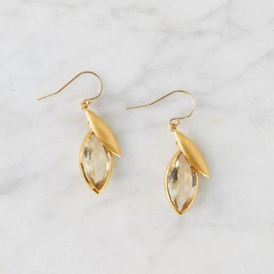 Citrine Lotus Drop Earrings