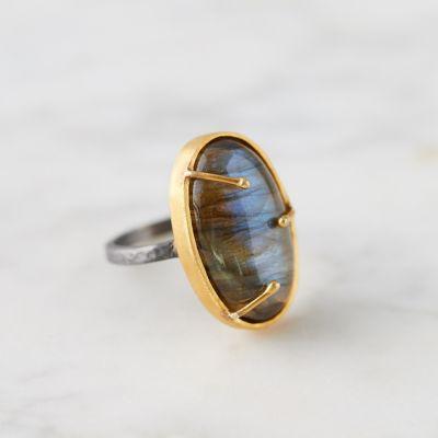 Labradorite + Gold Vermeil Ring