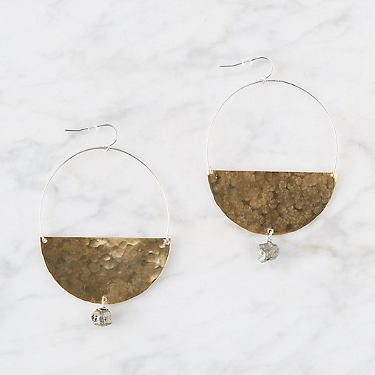 View larger image of Pyrite Half-Hoop Earrings
