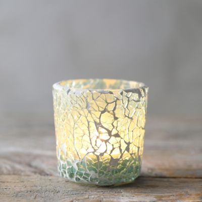 Crackle Turquoise Votive Holder