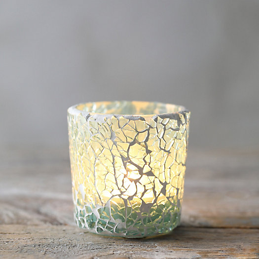 View larger image of Crackle Turquoise Votive Holder