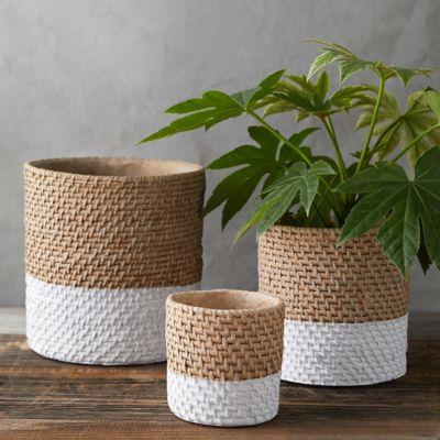 Colorblock Woven Cement Pot