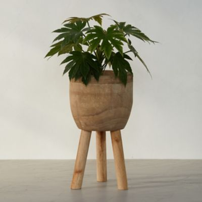 Palm Wood Plant Stand