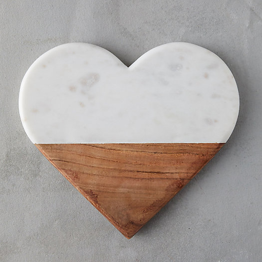 View larger image of Marble + Wood Heart Serving Board