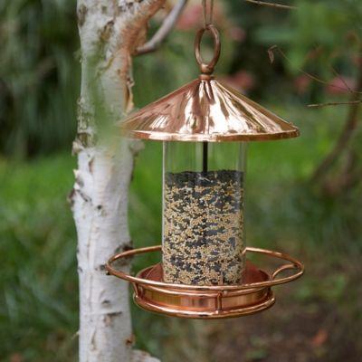 Short Solid Copper Bird Feeder