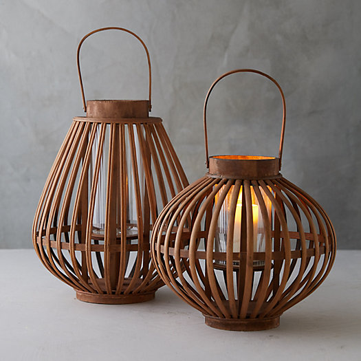 View larger image of Bamboo + Glass Lantern