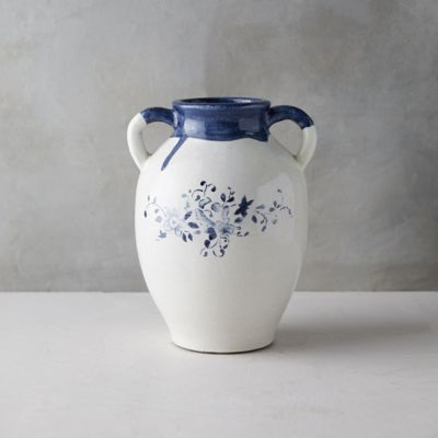 Blue Floral Two-Handle Vase
