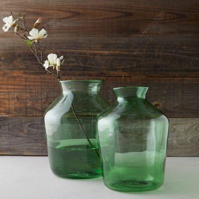 Oval Neck Glass Vase