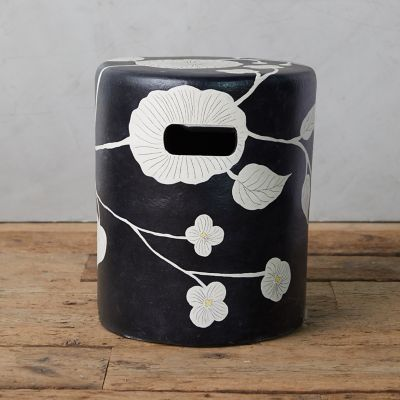 Graphic Florals Terracotta Stool