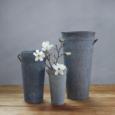 Aged Zinc Flower Vase
