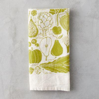 Green Veggies Tea Towel