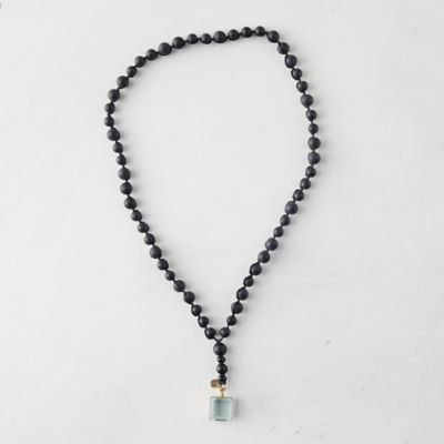 Onyx Bead + Brass Locket Necklace