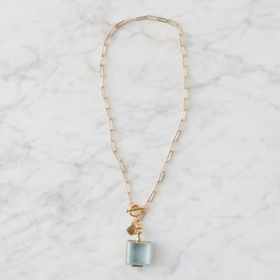 Brass Locket + Hammered Chain Necklace