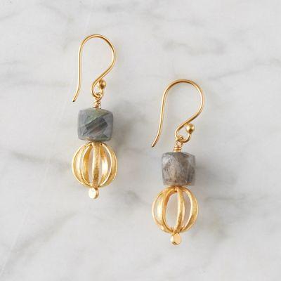 Labradorite + Gold Drop Earrings