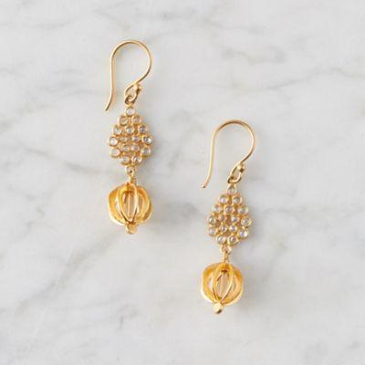 White Topaz + Gold Pendant Earrings