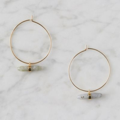Labradorite Bar Hoop Earrings