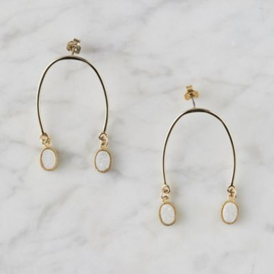 Druzy Horseshoe Earrings