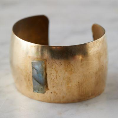 Labradorite + Brass Cuff