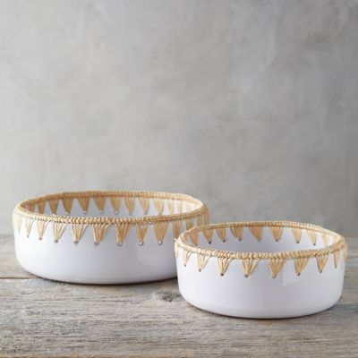 Raffia Edge Ceramic Serving Bowl