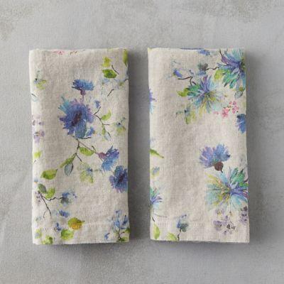 Lithuanian Linen Napkin Set, Watercolor Floral