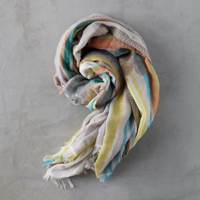 Floral Motif Striped Scarf