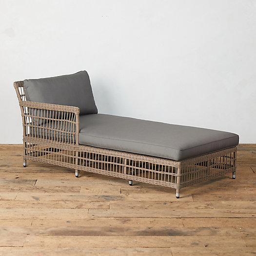 View larger image of Trellis Weave All Weather Wicker Chaise, Left Arm