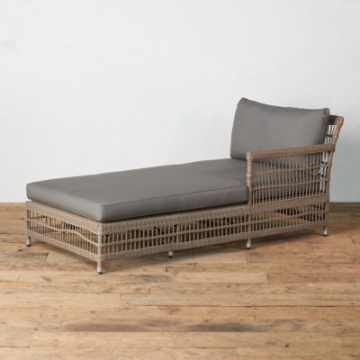 Trellis Weave All Weather Wicker Chaise, Right Arm
