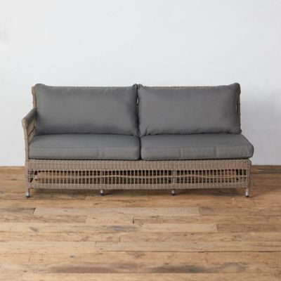 Trellis Weave All Weather Wicker Sofa, Left Arm
